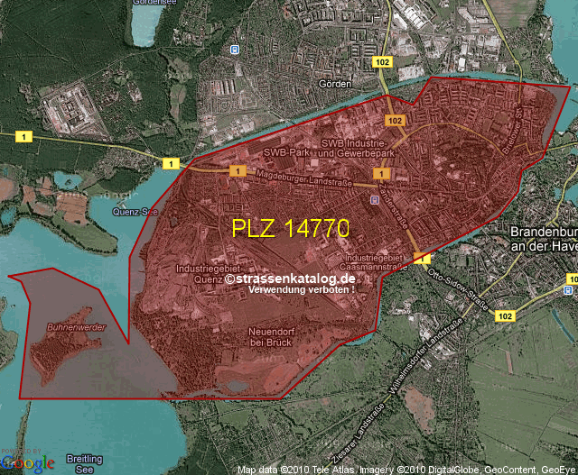 Postleitzahlen Karte Brandenburg.Postleitzahlgebiet 14770 Plz